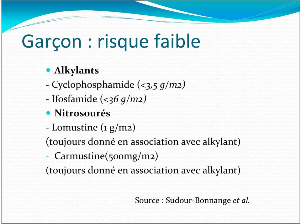 donné en association avec alkylant) - Carmustine(500mg/m2)