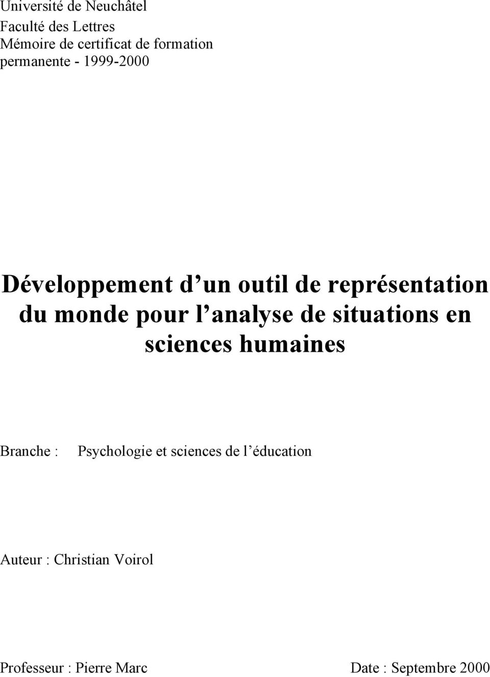 analyse de situations en sciences humaines Branche : Psychologie et sciences de l