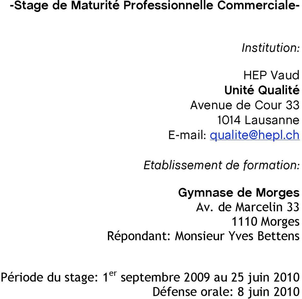 ch Etablissement de formation: Gymnase de Morges Av.