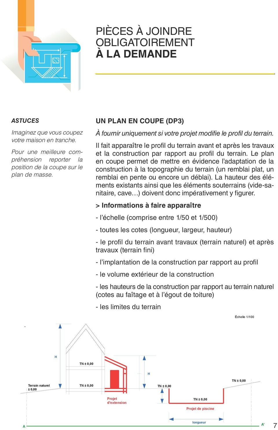 Le guide de la d claration pr alable d claration - Un plan en coupe du terrain et de la construction ...