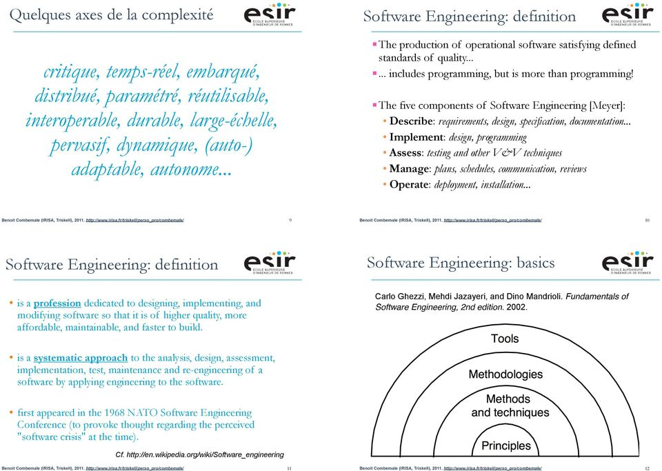 ! The five components of Software Engineering [Meyer]: Describe: requirements, design, specification, documentation.