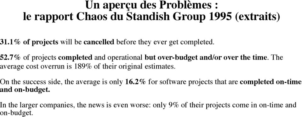 7% of projects completed and operational but over-budget and/or over the time.