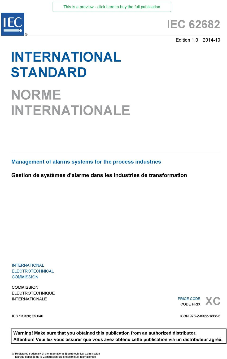 transformation INTERNATIONAL ELECTROTECHNICAL COMMISSION COMMISSION ELECTROTECHNIQUE INTERNATIONALE PRICE CODE CODE PRIX XC ICS 13.320; 25.