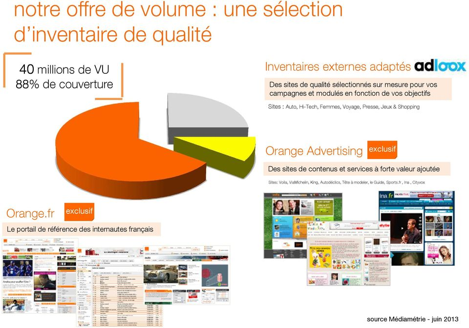 & Shopping Orange Advertising exclusif Des sites de contenus et services à forte valeur ajoutée Sites: Voila, ViaMichelin, King, Autodéclics,