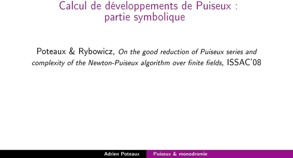 reduction of Puiseux series and complexity of