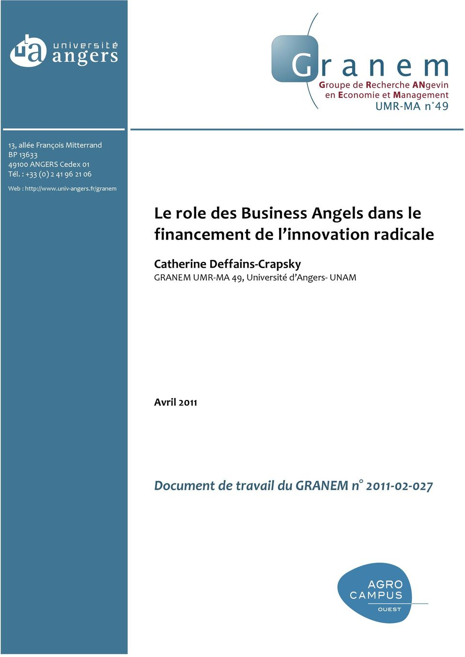 fr/granem Le role des Business Angels dans le financement de l innovation