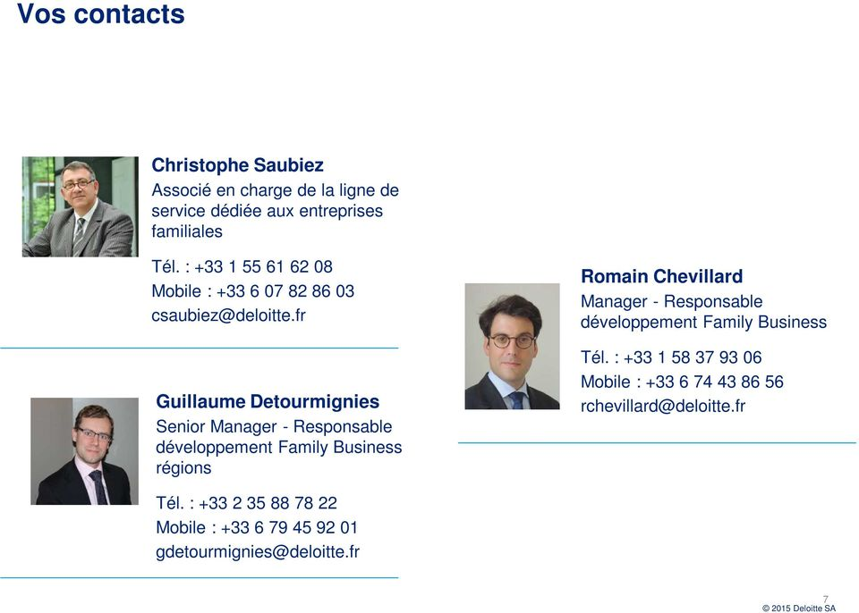 fr Guillaume Detourmignies Senior Manager - Responsable développement Family Business régions Romain Chevillard Manager -