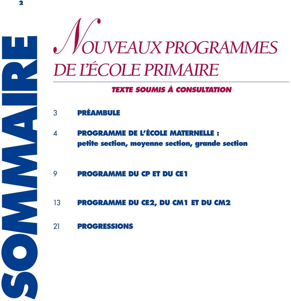 section, moyenne section, grande section 9 PROGRAMME DU CP