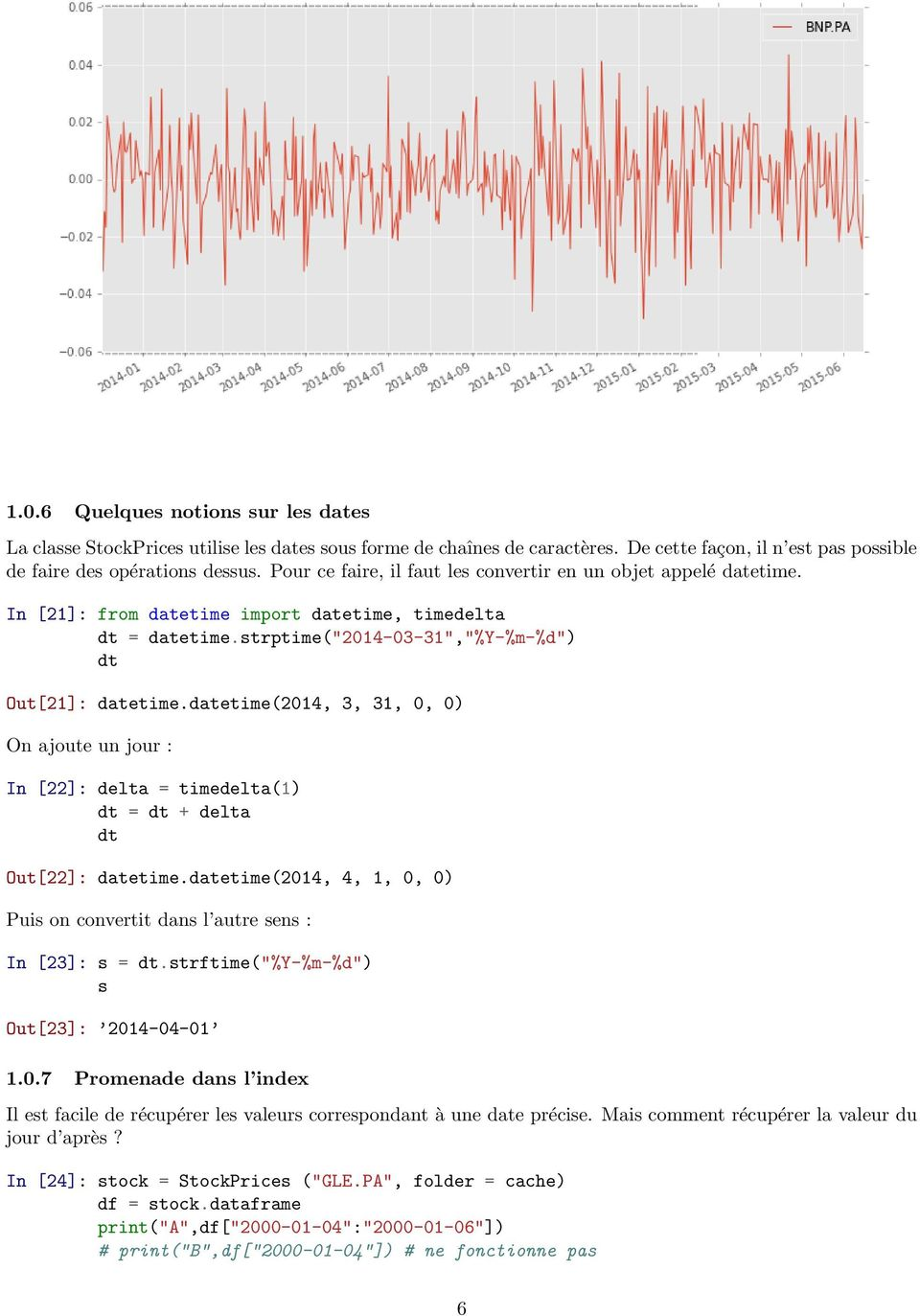 datetime(2014, 3, 31, 0, 0) On ajoute un jour : In [22]: delta = timedelta(1) dt = dt + delta dt Out[22]: datetime.datetime(2014, 4, 1, 0, 0) Puis on convertit dans l autre sens : In [23]: s = dt.