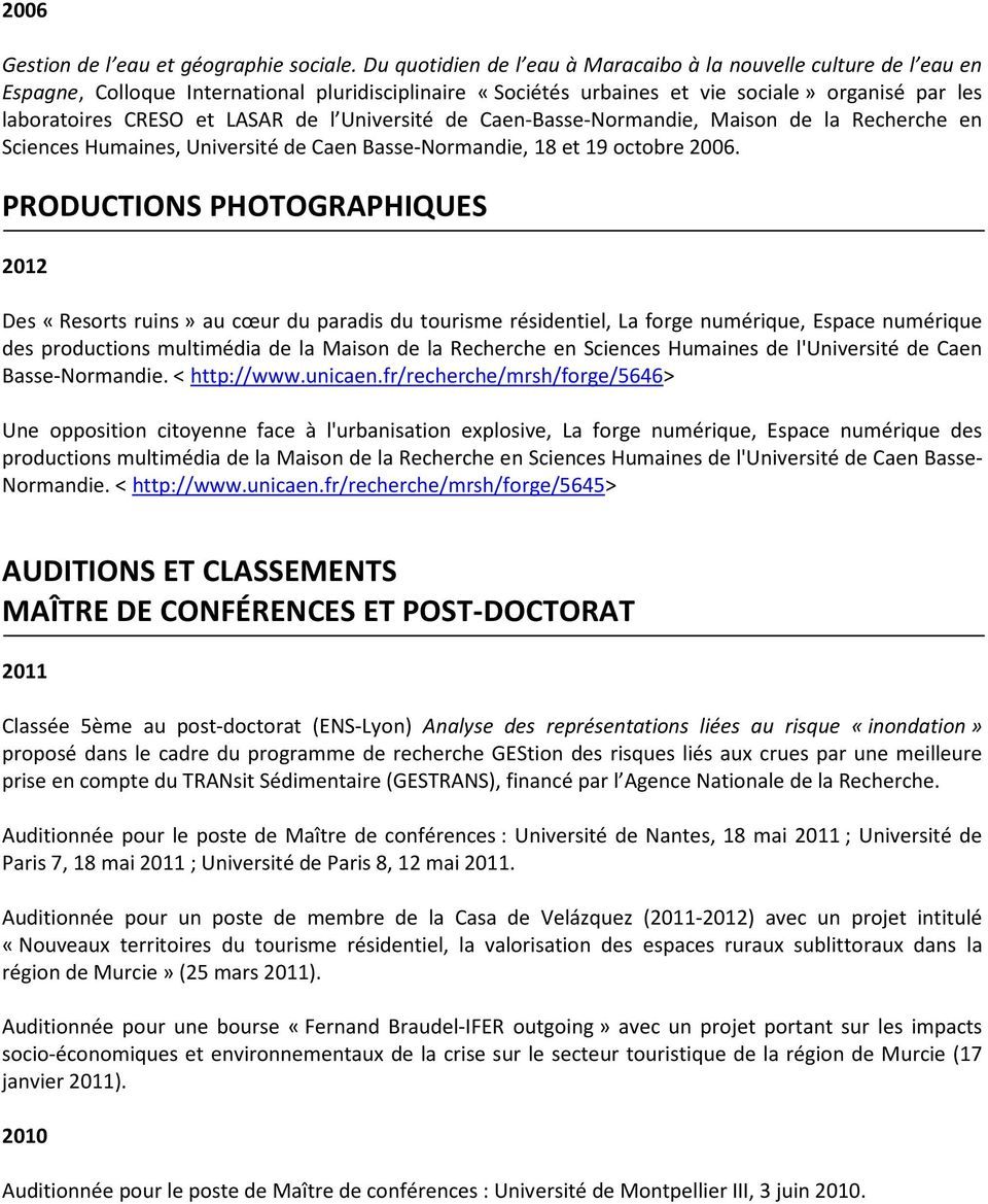 curriculum vitae formation universitaire