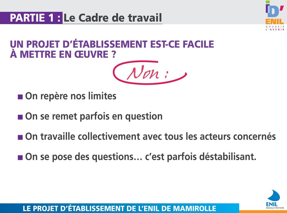 On repère nos limites Non : On se remet parfois en question On