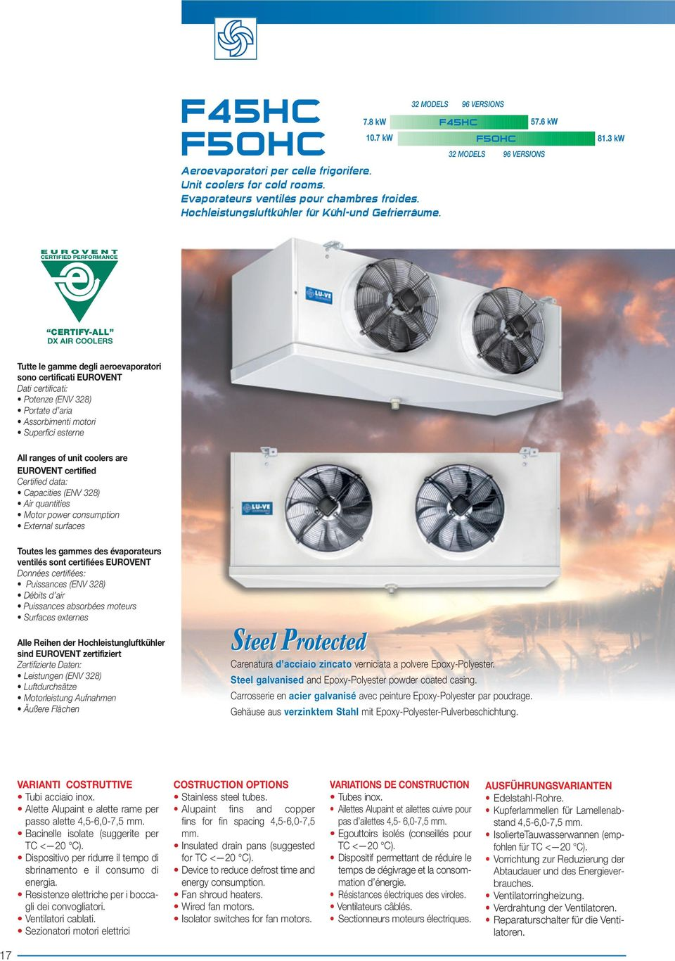 3 kw 32 MODELS 96 VERSIONS 32 MODELS EUROVENT CERTIFIED PERFORMANCE CERTIFY-ALL DX AIR COOLERS Tutte le gamme degli aeroevaporatori sono certificati EUROVENT Dati certificati: Potenze (ENV 328)