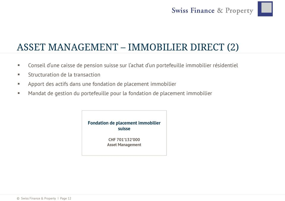 fondation de placement immobilier Mandat de gestion du portefeuille pour la fondation de placement