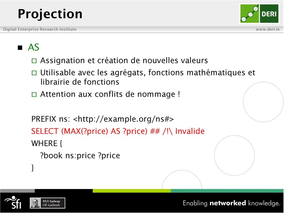 Attention aux conflits de nommage! PREFIX ns: <http://example.