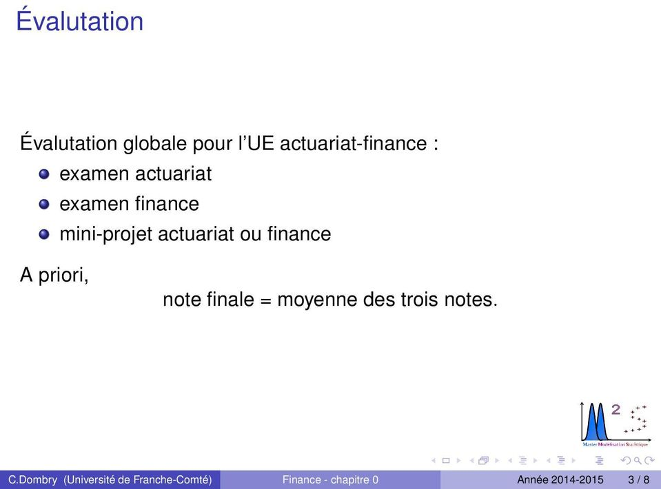A priori, note finale = moyenne des trois notes. C.