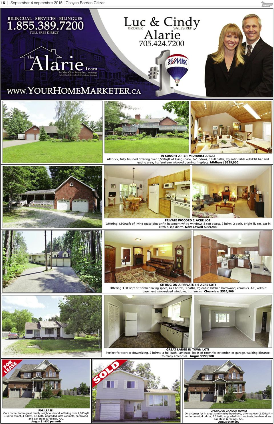 Midhurst $639,900 PRIVATE WOODED 2 ACRE LOT! Offering 1,500sqft of living space plus unfin basement w/ lrg windows & sep access, 2 bdrm, 2 bath, bright liv rm, eat-in kitch & sep dinrm.