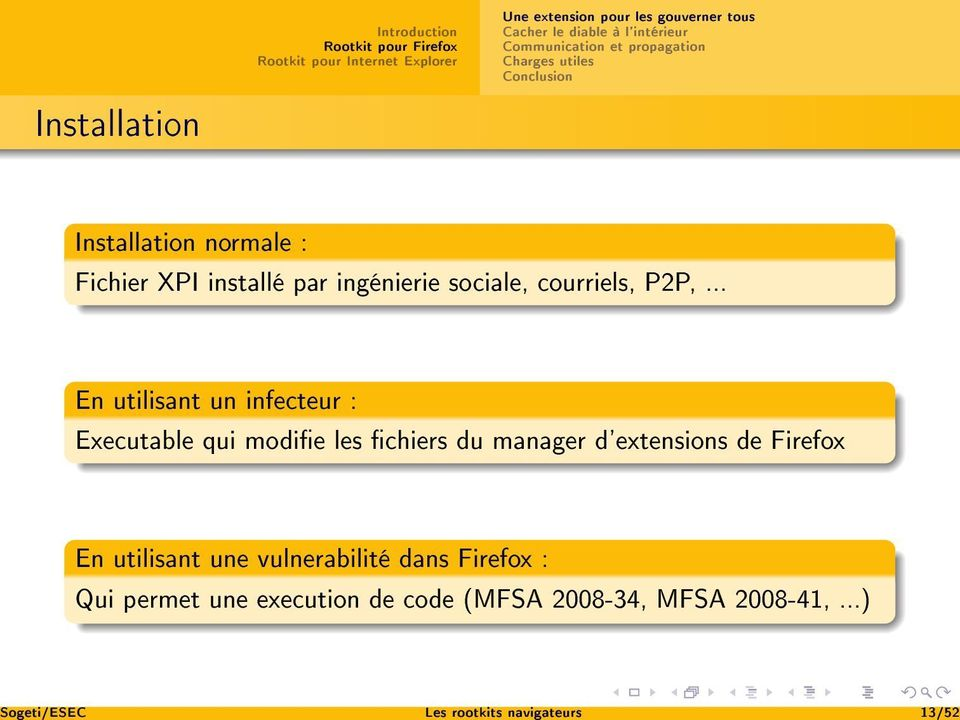 .. En utilisant un infecteur : Executable qui modie les chiers du manager d'extensions