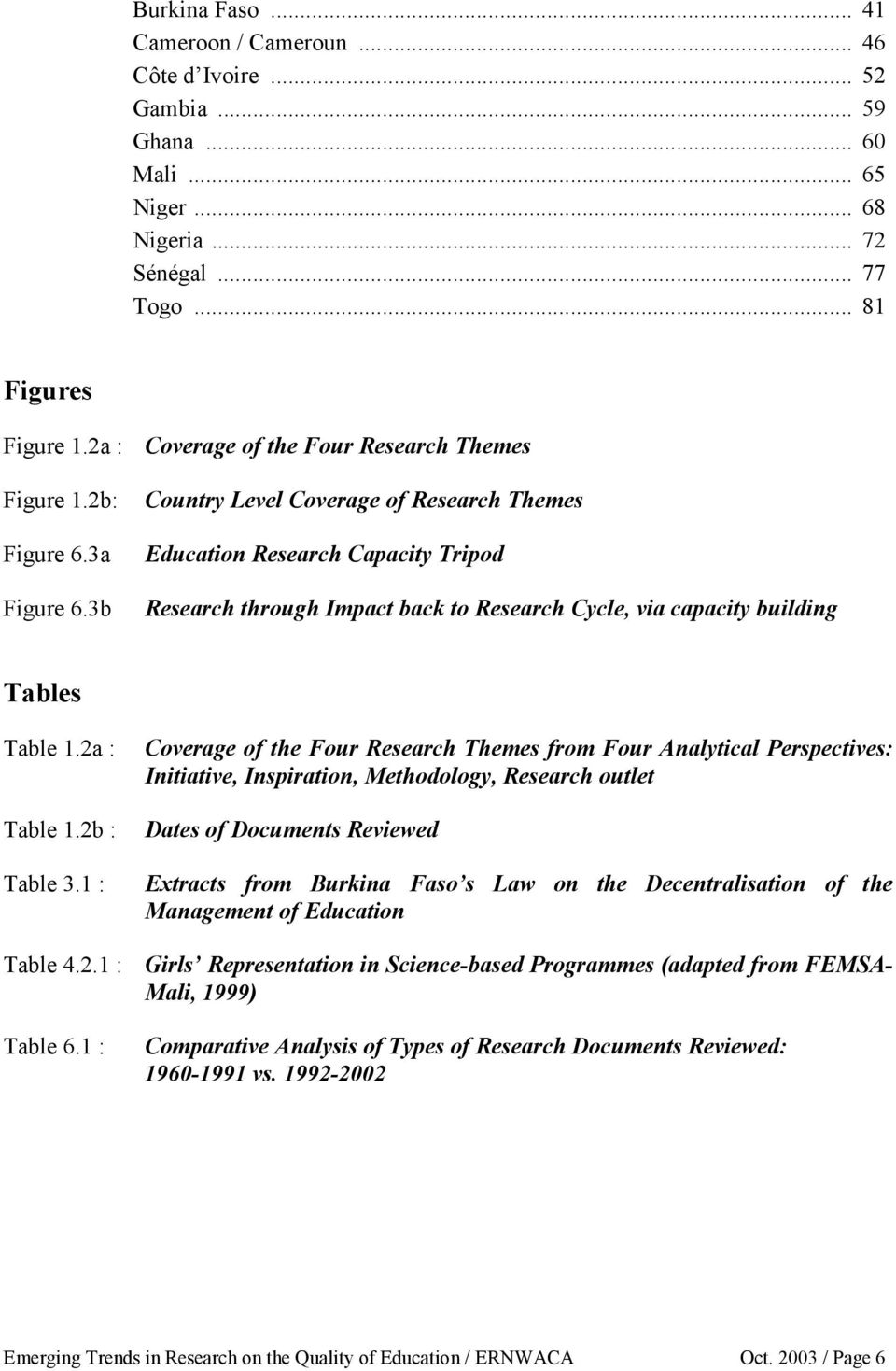 3b Country Level Coverage of Research Themes Education Research Capacity Tripod Research through Impact back to Research Cycle, via capacity building Tables Table 1.2a : Table 1.2b : Table 3.