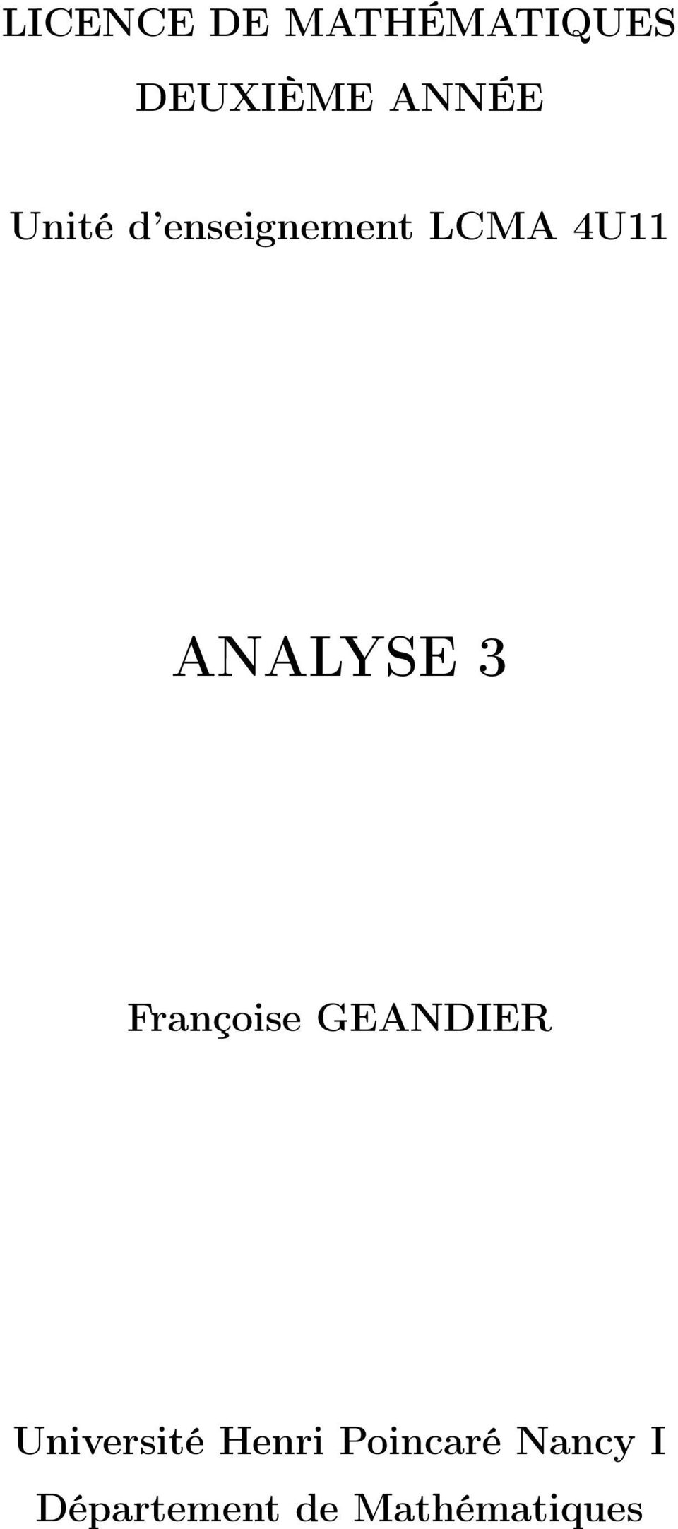 ANALYSE 3 Frnçoise GEANDIER Université