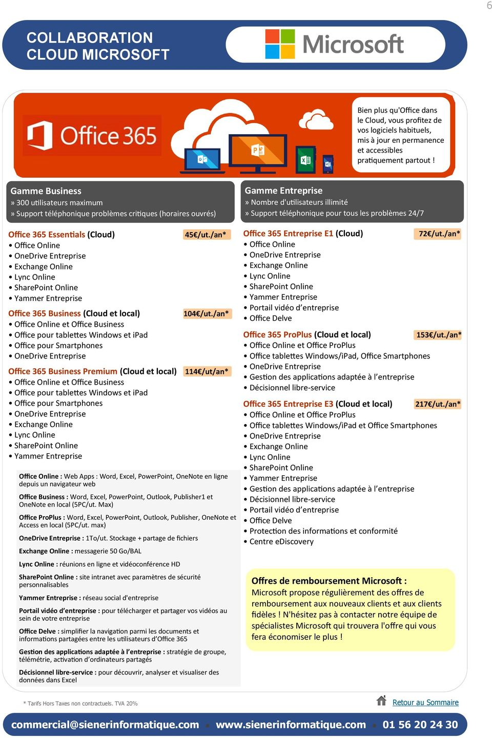 Entreprise Office 365 Business (Cloud et local) Office Online et Office Business Office pour tablettes Windows et ipad Office pour Smartphones Office 365 Business Premium (Cloud et local) Office