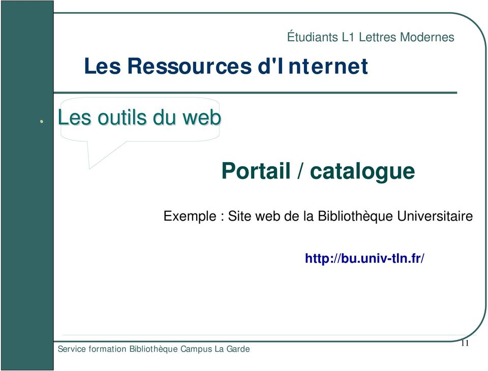 / catalogue Exemple : Site web de la