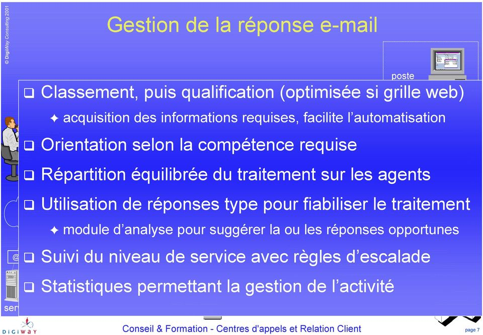 Classement, puis qualification (optimisée si grille web) Internet acquisition des informations requises, facilite l automatisation! Orientation selon la compétence requise!