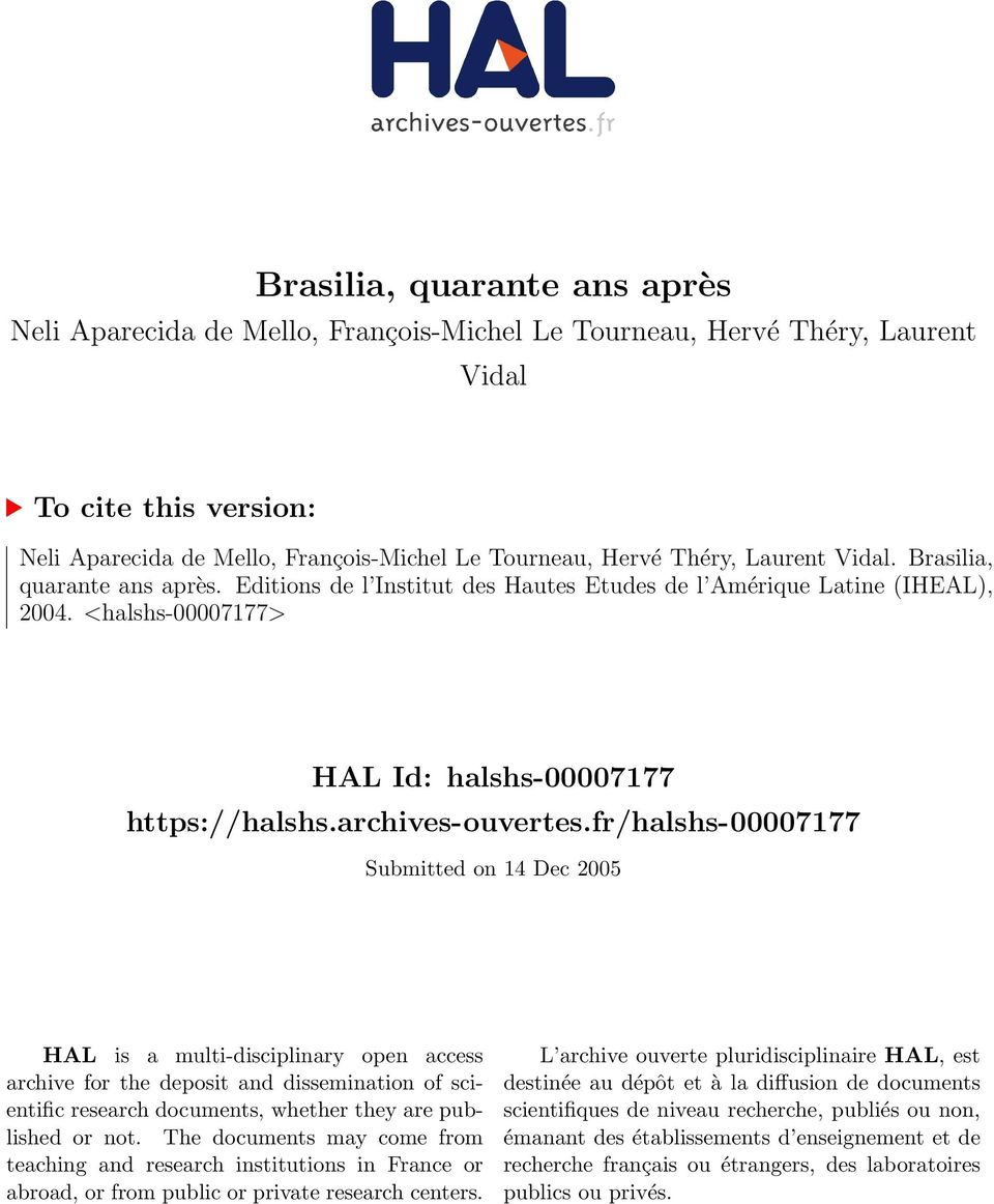 fr/halshs-00007177 Submitted on 14 Dec 2005 HAL is a multi-disciplinary open access archive for the deposit and dissemination of scientific research documents, whether they are published or not.