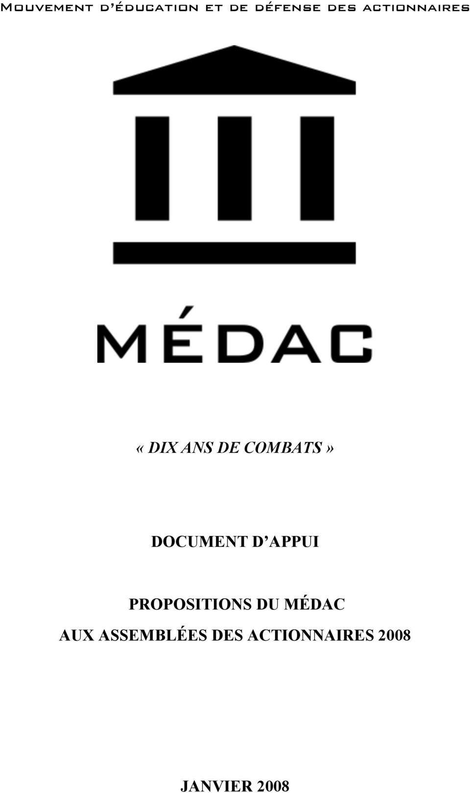 DOCUMENT D APPUI PROPOSITIONS DU MÉDAC