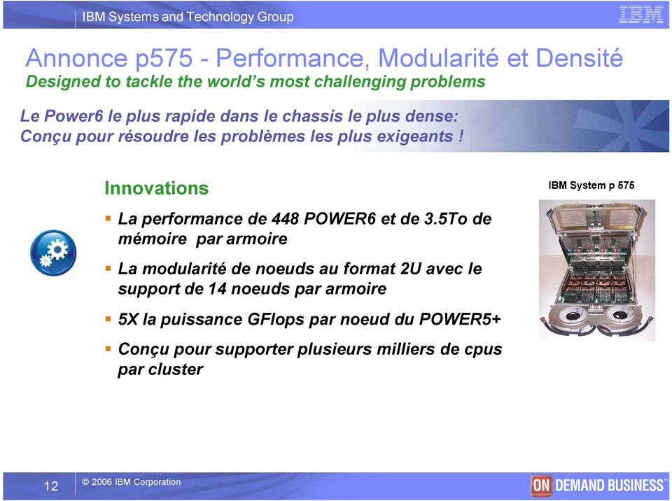 Innovations IBM System p 575 La performance de 448 POWER6 et de 3.