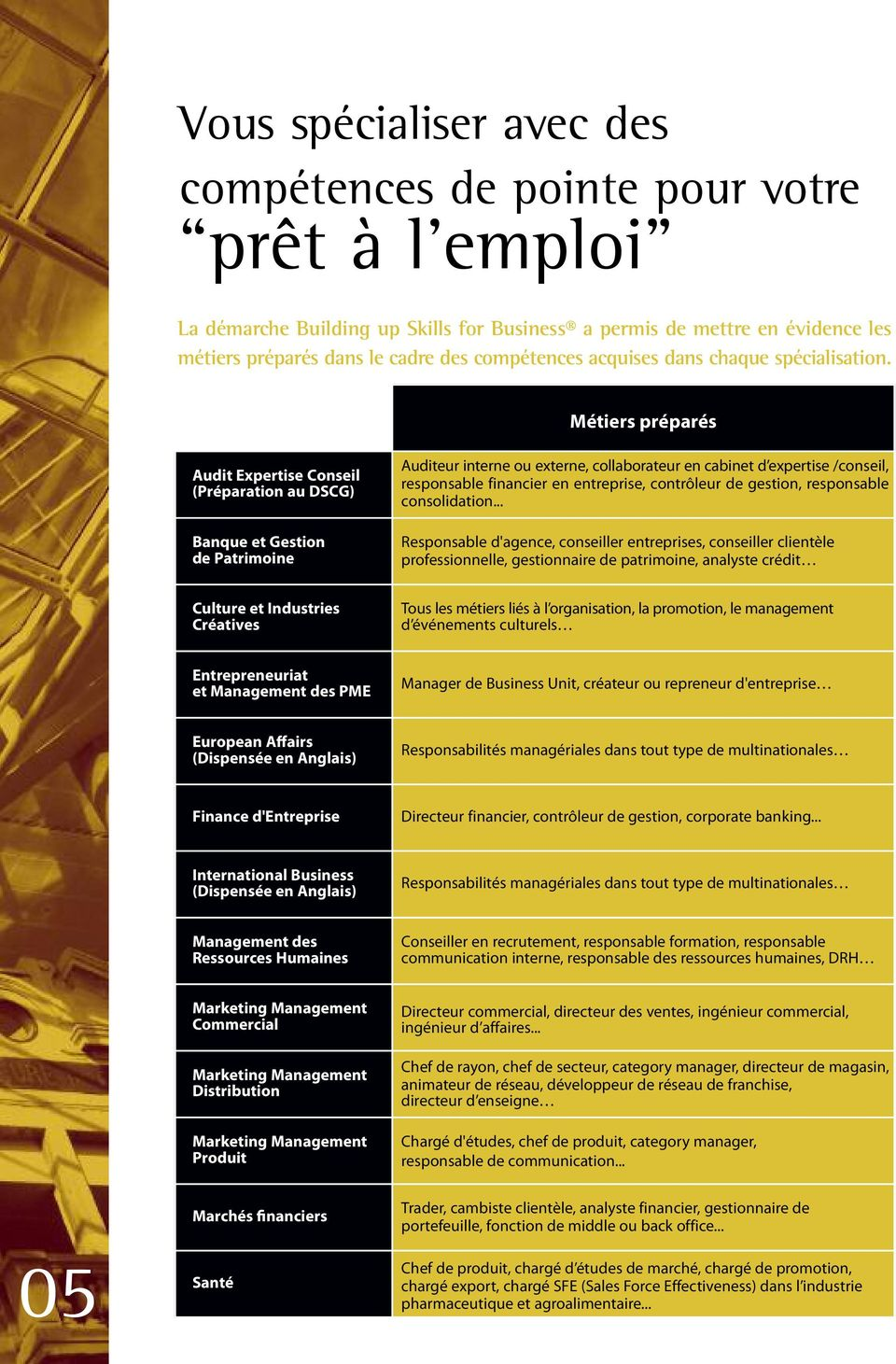 Métiers préparés Audit Expertise Conseil (Préparation au DSCG) Banque et Gestion de Patrimoine Auditeur interne ou externe, collaborateur en cabinet d expertise /conseil, responsable financier en