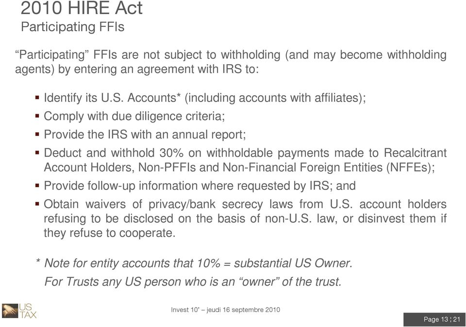 Accounts* (including accounts with affiliates); Comply with due diligence criteria; Provide the IRS with an annual report; Deduct and withhold 30% on withholdable payments made to Recalcitrant