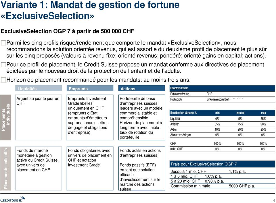 capital; actions). Pour ce profil de placement, le Credit Suisse propose un mandat conforme aux directives de placement édictées par le nouveau droit de la protection de l enfant et de l adulte.