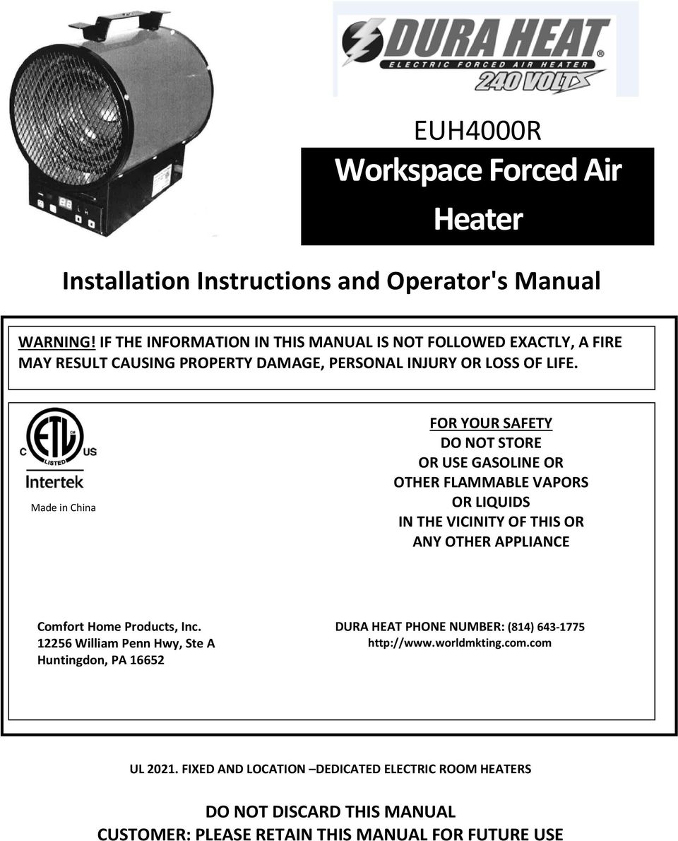 Euh4000r Workspace Forced Air Heater Pdf # Muebles Seframi