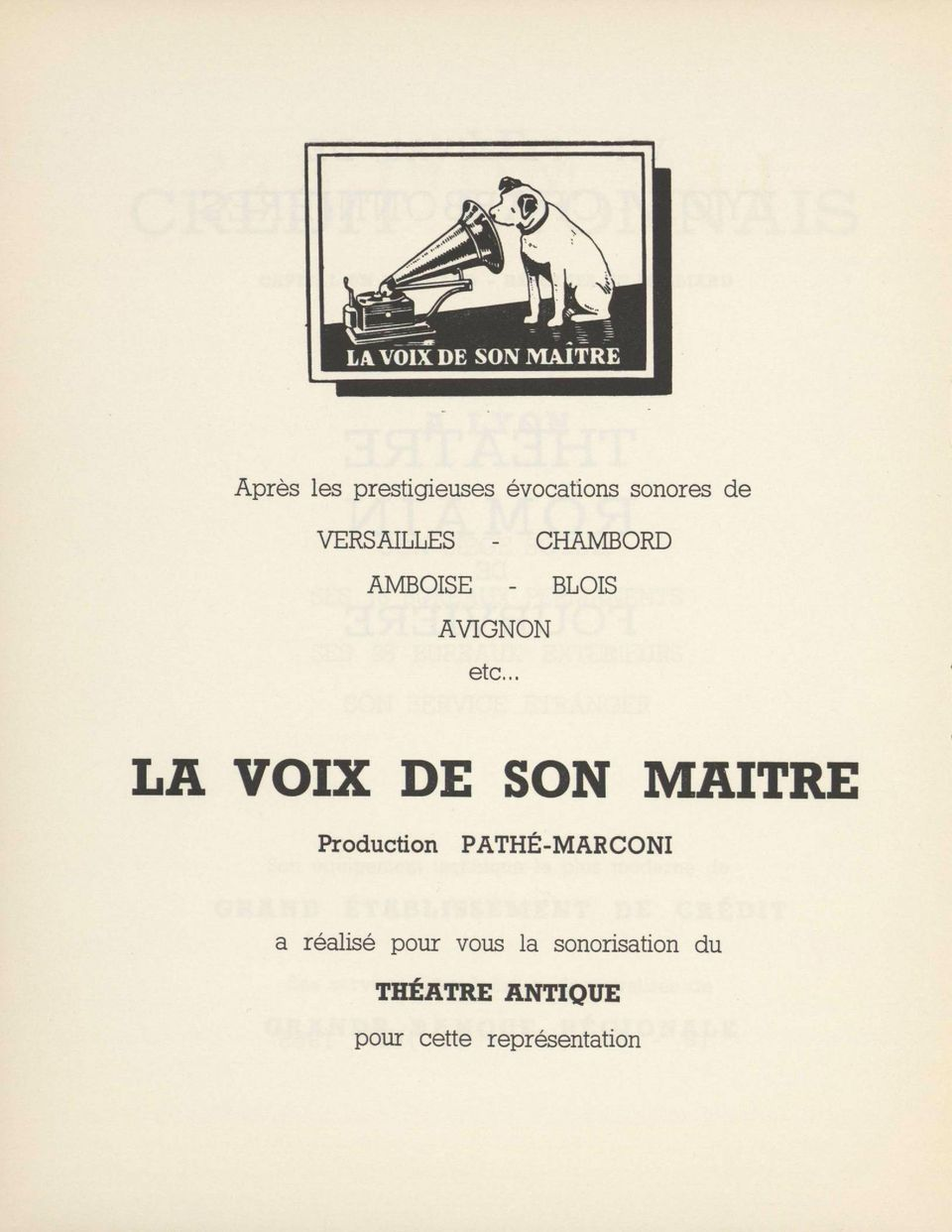 . LA VOIX DE SON MAITRE Production PATHÉ-MARCONI a
