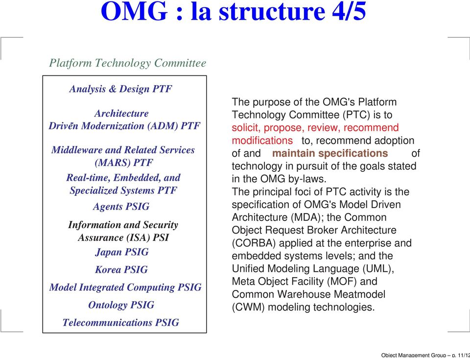 Specialized Systems PTF Agents PSIG Information and Security Assurance (ISA) PSI Japan PSIG Korea PSIG Model Integrated Computing PSIG Ontology PSIG Telecommunications PSIG The purpose of the OMG's