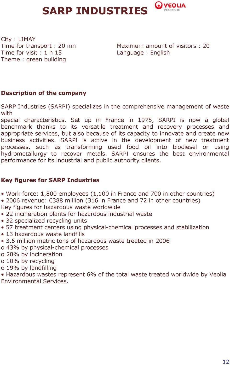 Set up in France in 1975, SARPI is now a global benchmark thanks to its versatile treatment and recovery processes and appropriate services, but also because of its capacity to innovate and create