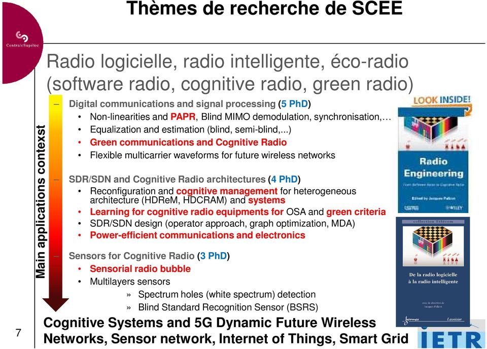 ..) Green communications and Cognitive Radio Flexible multicarrier waveforms for future wireless networks SDR/SDN and Cognitive Radio architectures (4 PhD) Reconfiguration and cognitive management