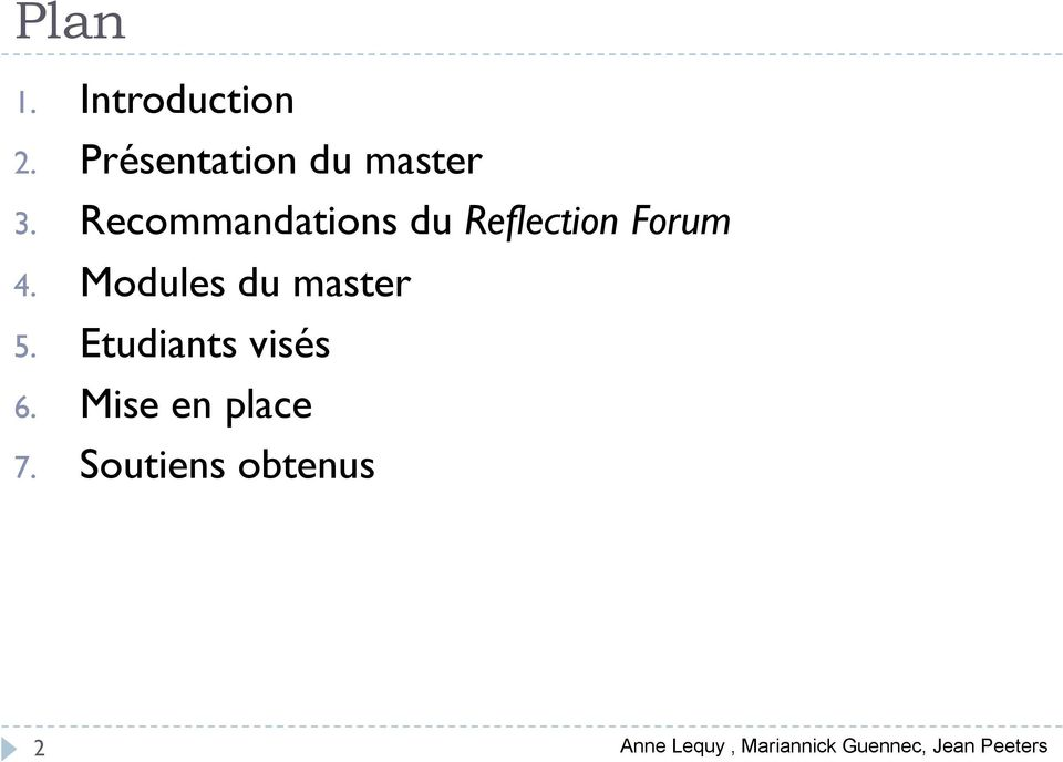 Modules du master 5. Etudiants visés 6.