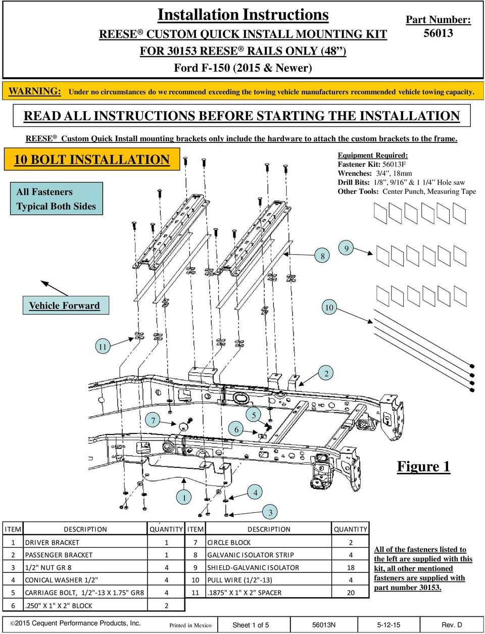 READ ALL INSTRUCTIONS BEFORE STARTING THE INSTALLATION REESE Custom Quick Install mounting brackets only include the hardware to attach the custom brackets to the frame.