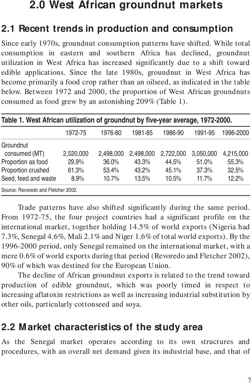 Since the late 1980s, groundnut in West Africa has become primarily a food crop rather than an oilseed, as indicated in the table below.