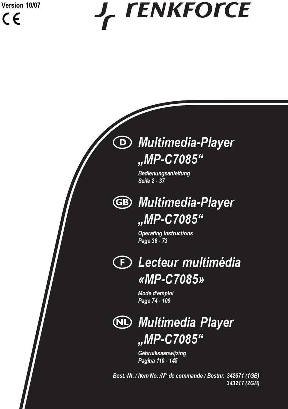 «MP-C7085» Mode d emploi Page 74-109 Multimedia Player MP-C7085