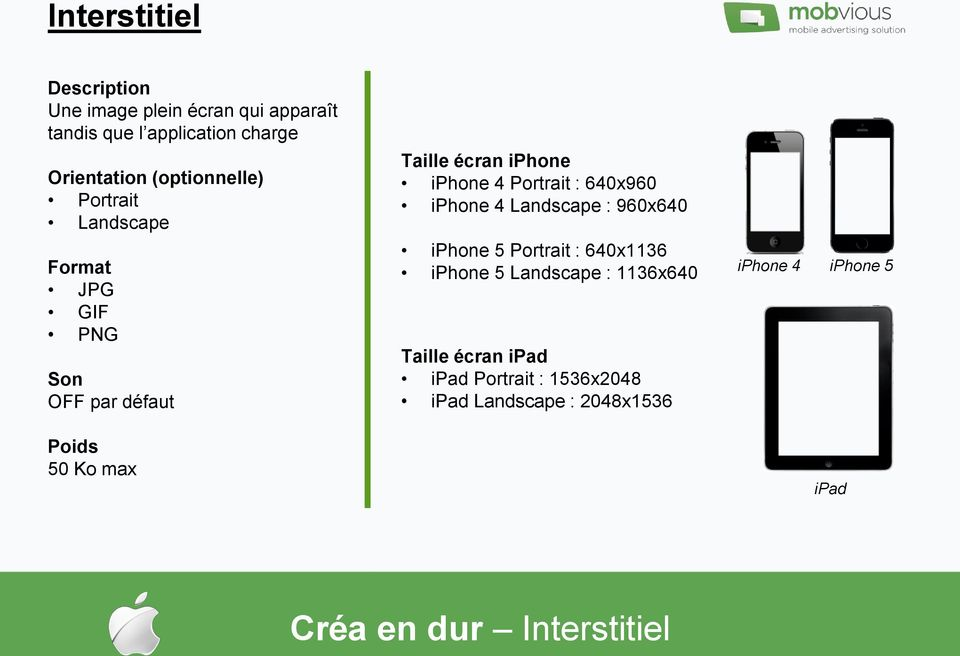 640x960 iphone 4 Landscape : 960x640 iphone 5 Portrait : 640x1136 iphone 5 Landscape : 1136x640 Taille