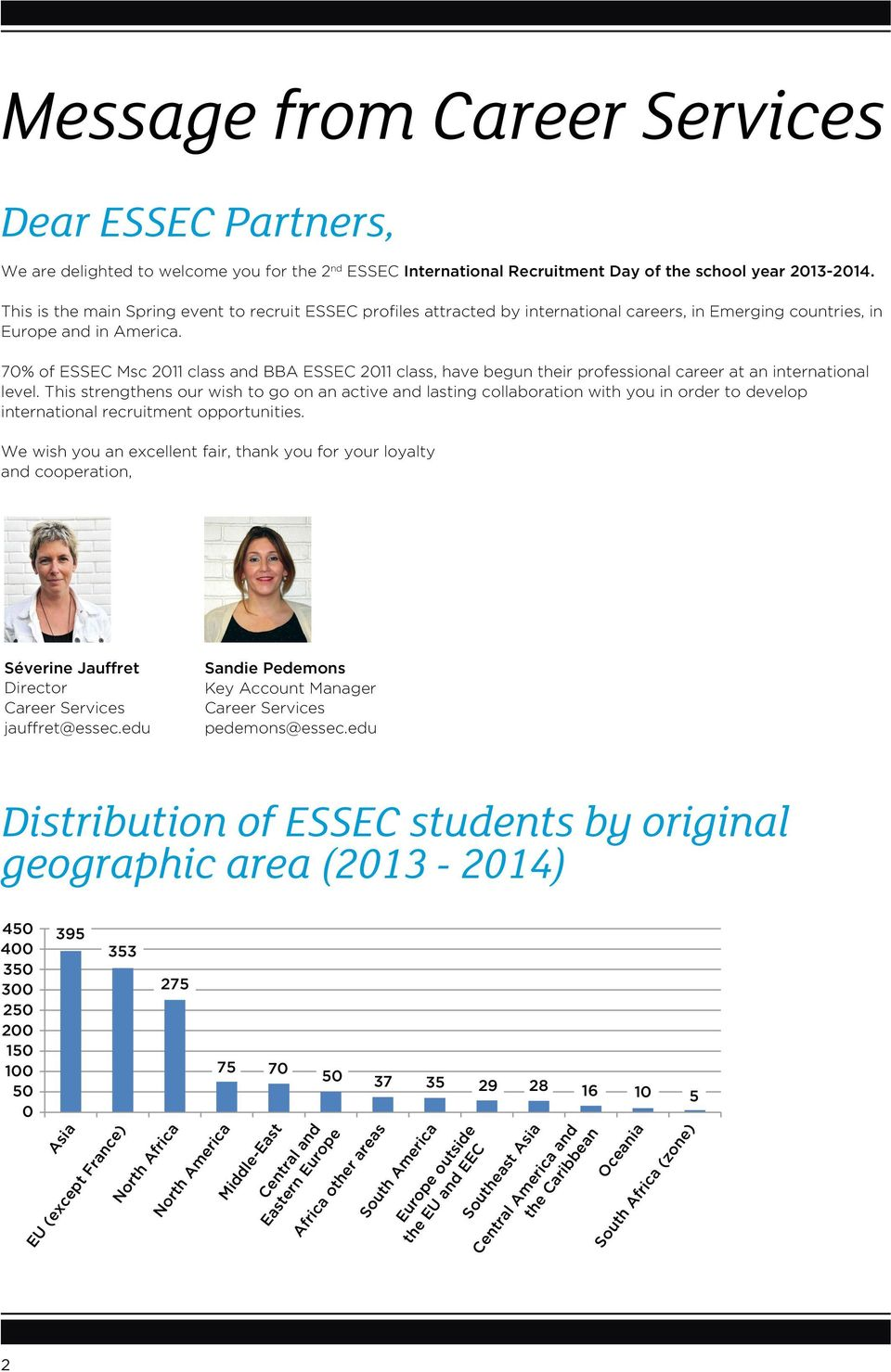 70% of ESSEC Msc 2011 class and BBA ESSEC 2011 class, have begun their professional career at an international level.