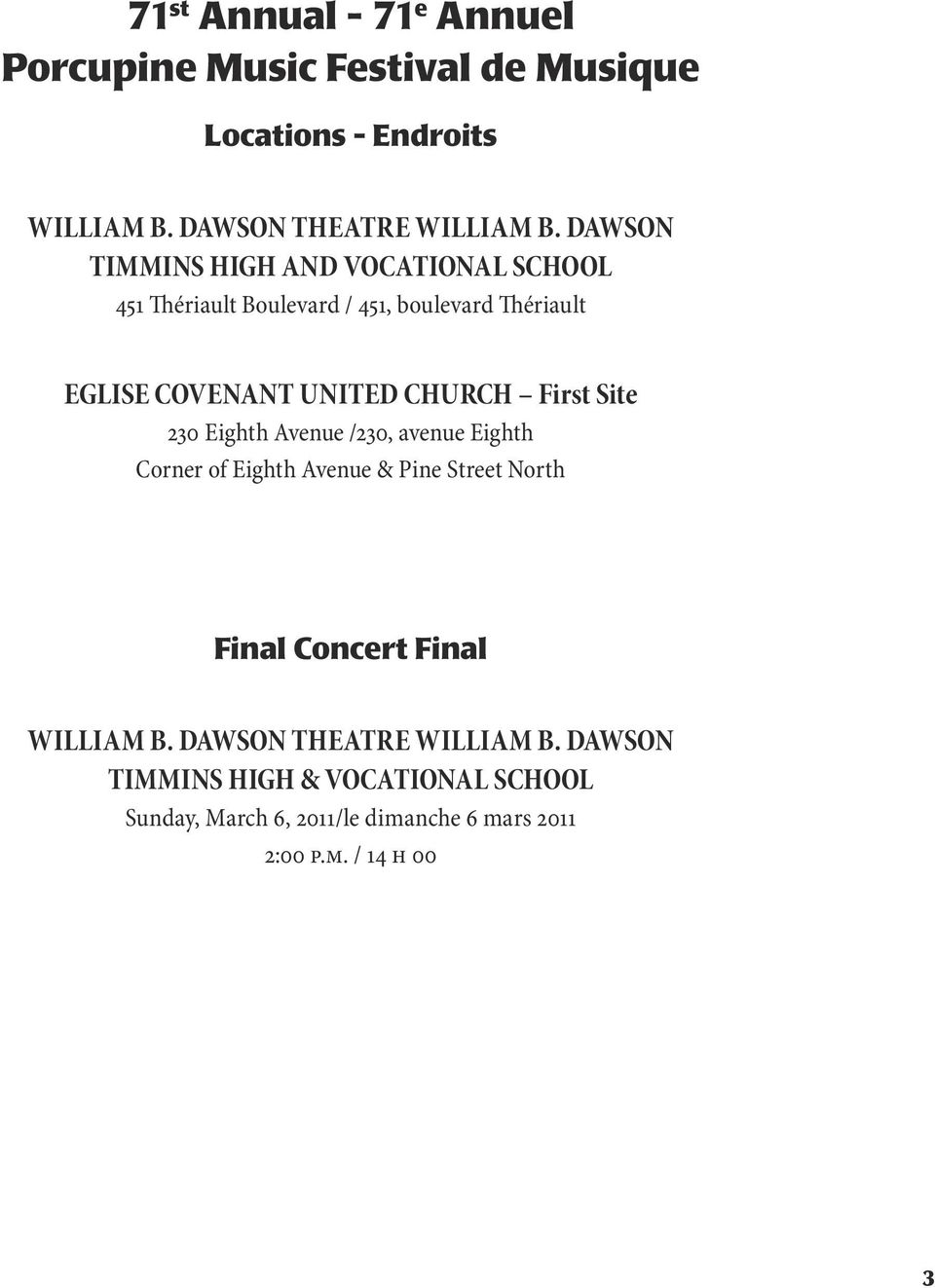 First Site 230 Eighth Avenue /230, avenue Eighth Corner of Eighth Avenue & Pine Street North Final Concert Final WILLIAM B.