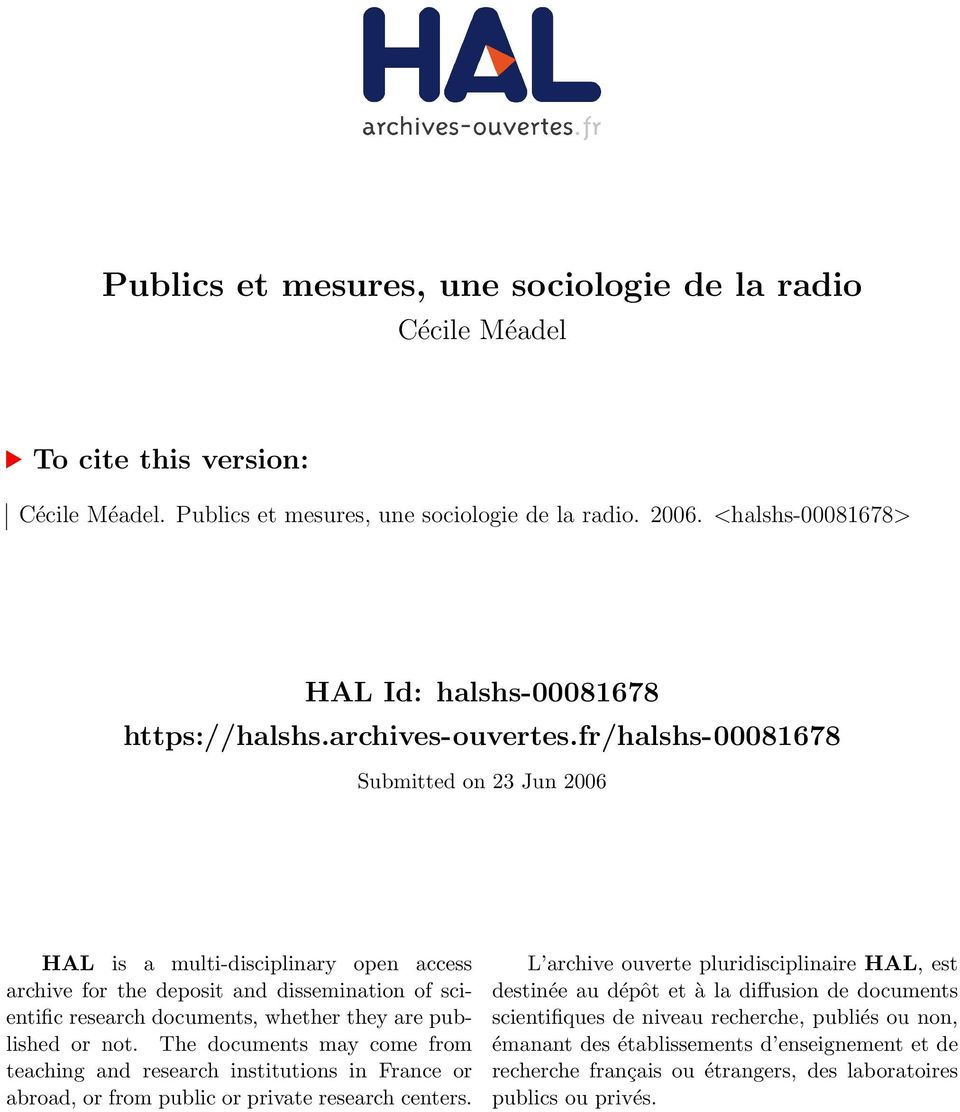 fr/halshs-00081678 Submitted on 23 Jun 2006 HAL is a multi-disciplinary open access archive for the deposit and dissemination of scientific research documents, whether they are published or not.