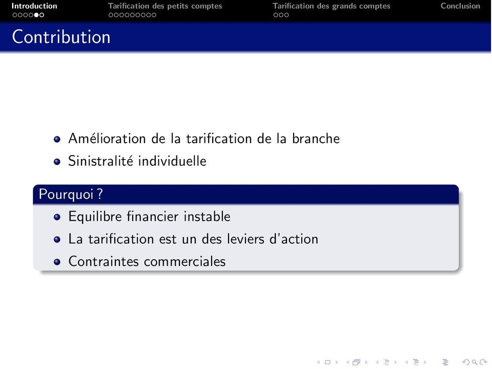 Equilibre financier instable La tarification