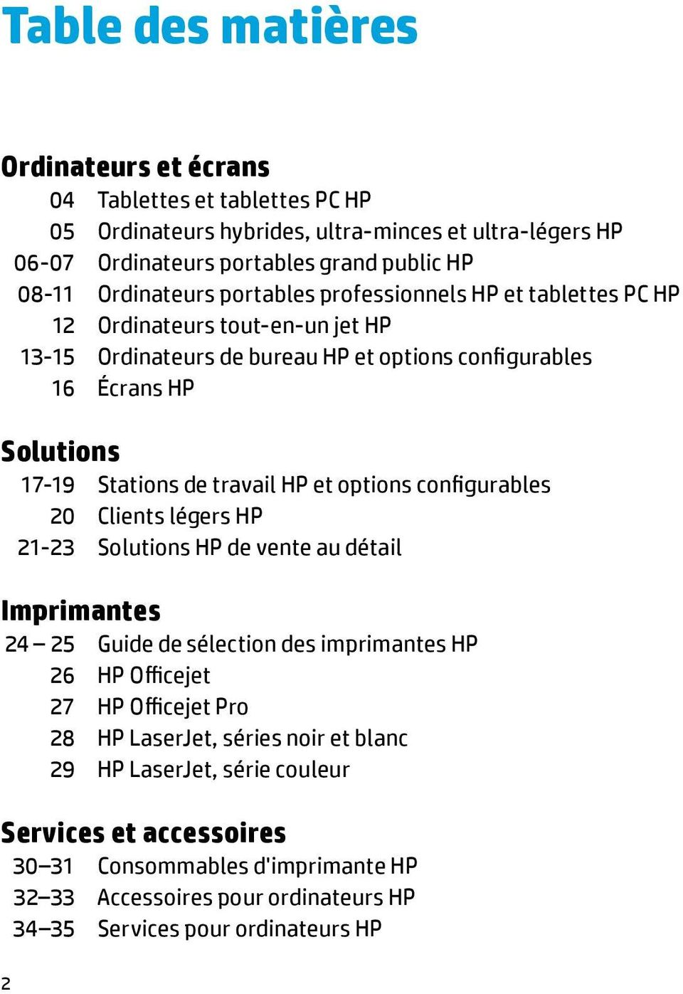 travail HP et options configurables 20 Clients légers HP 21-23 Solutions HP de vente au détail Imprimantes 24 25 Guide de sélection des imprimantes HP 26 HP Officejet 27 HP Officejet Pro