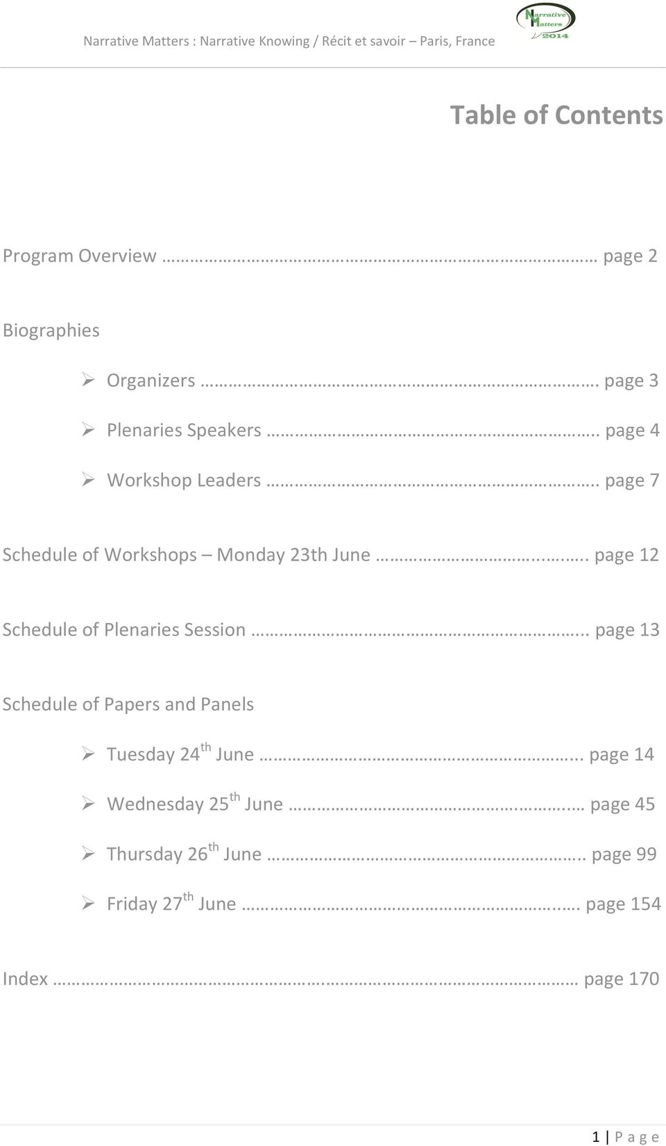 ..... page 12 Schedule of Plenaries Session.