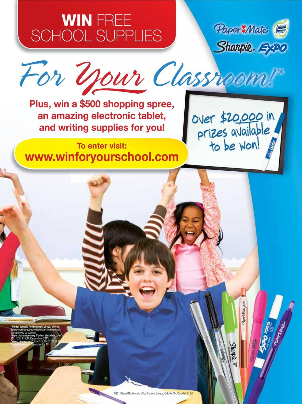School must be accredited (excludes home schools) and approved by sponsor. No purchase necessary. Contest start date: June 1st, 2011 12:01:01 A.M.