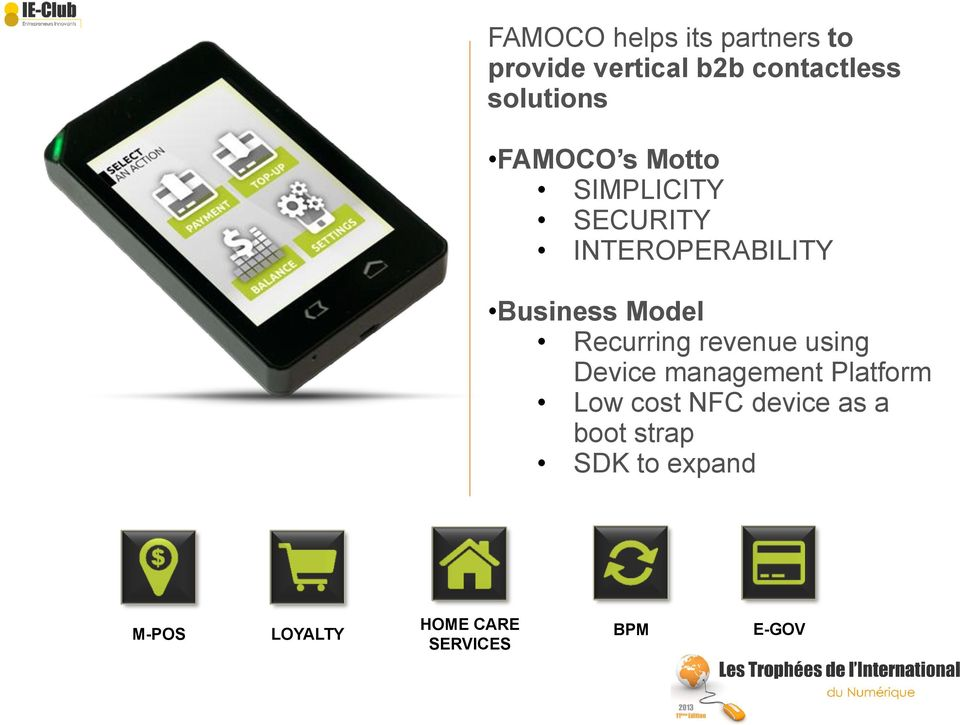 Model Recurring revenue using Device management Platform Low cost NFC
